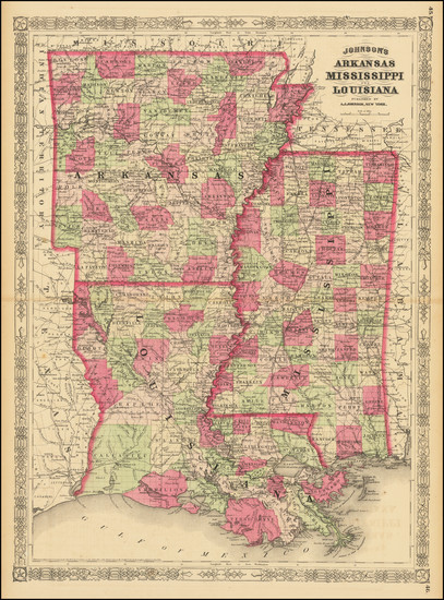 95-Louisiana, Mississippi and Arkansas Map By Alvin Jewett Johnson