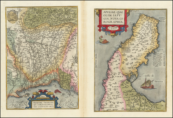 73-Northern Italy and Southern Italy Map By Abraham Ortelius