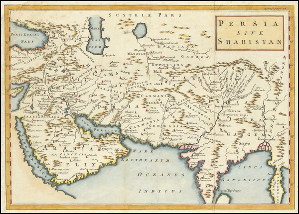 96-India, Central Asia & Caucasus, Middle East and Persia Map By Christoph Cellarius