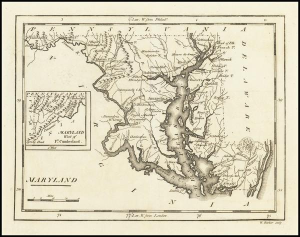 89-Maryland Map By Mathew Carey