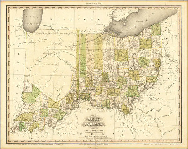 59-Midwest, Indiana and Ohio Map By Henry Schenk Tanner