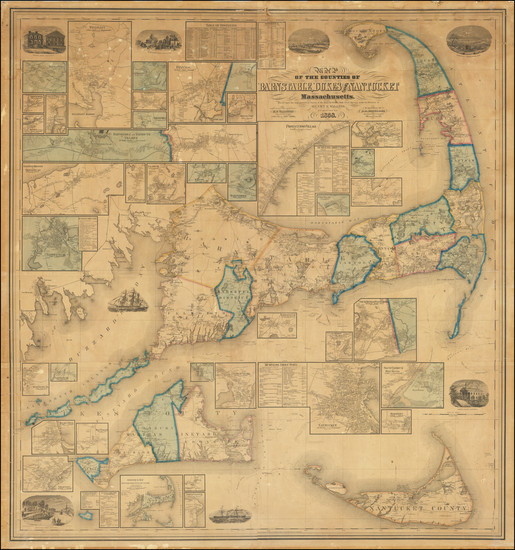 77-New England and Massachusetts Map By Henry Francis Walling