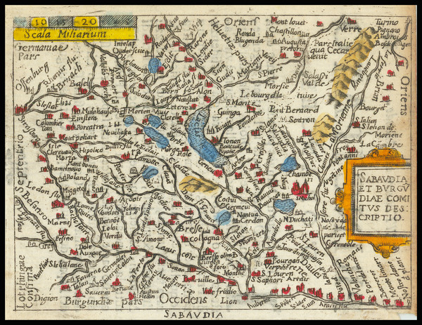 24-Switzerland, France and Northern Italy Map By Abraham Ortelius / Pietro Marchetti