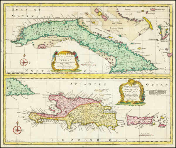 58-Cuba, Hispaniola and Puerto Rico Map By Emanuel Bowen