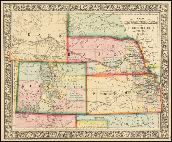 12-Kansas, Nebraska, Colorado, Colorado, Idaho and Wyoming Map By Samuel Augustus Mitchell Jr.