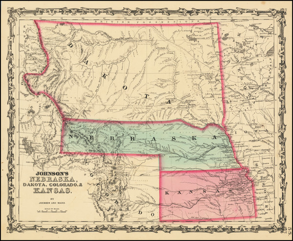 64-Kansas, Nebraska, North Dakota, South Dakota, Colorado, Colorado, Montana and Wyoming Map By Be