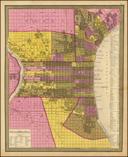 97-Philadelphia Map By Samuel Augustus Mitchell