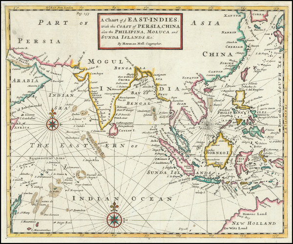 54-Indian Ocean, India, Southeast Asia and Philippines Map By Herman Moll