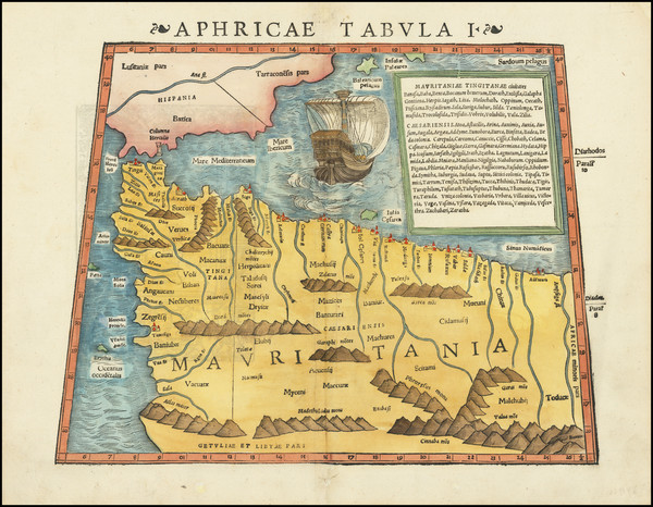 72-Spain and North Africa Map By Sebastian Munster