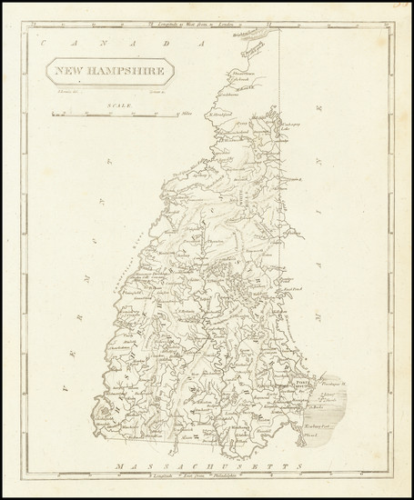 45-New Hampshire Map By Aaron Arrowsmith  &  Samuel Lewis