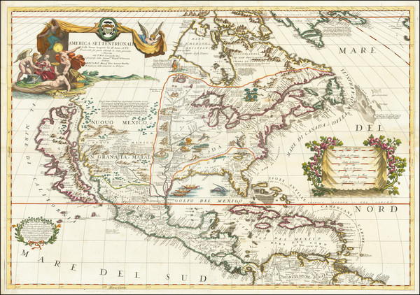 44-United States, North America and California as an Island Map By Vincenzo Maria Coronelli