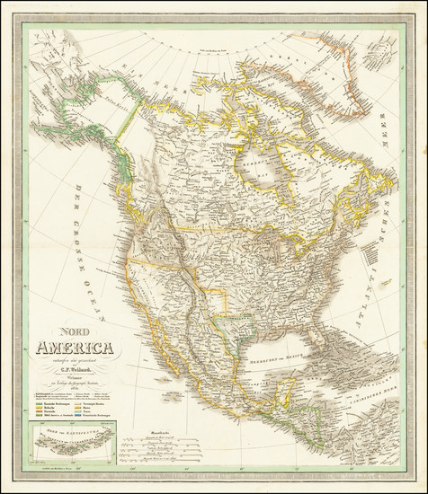 64-North America Map By Carl Ferdinand Weiland