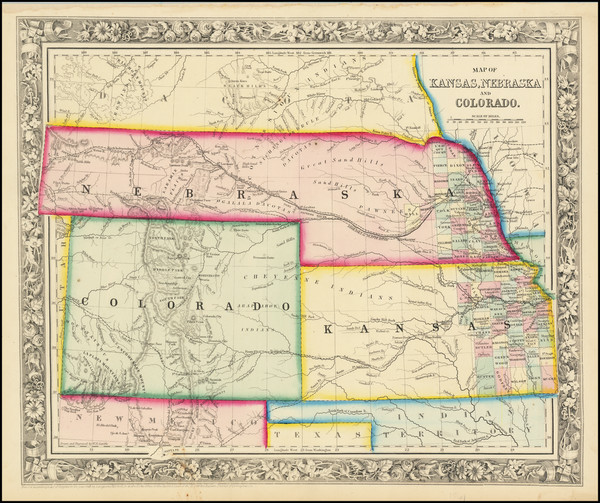 85-Plains, Kansas, Nebraska, Colorado, Rocky Mountains and Colorado Map By Samuel Augustus Mitchel