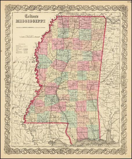 46-Mississippi Map By Joseph Hutchins Colton
