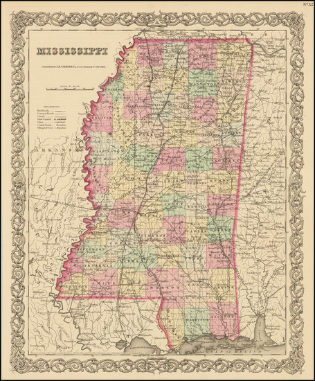 58-Mississippi Map By Joseph Hutchins Colton