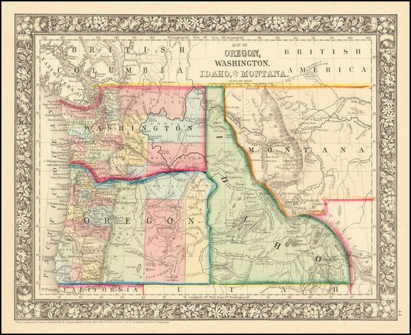4-Pacific Northwest Map By Samuel Augustus Mitchell Jr.