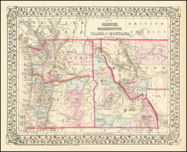 55-Idaho, Montana, Oregon and Washington Map By Samuel Augustus Mitchell Jr.