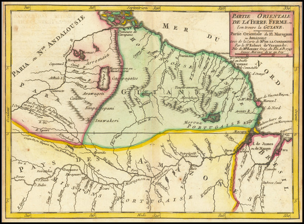 62-Guianas & Suriname Map By Gilles Robert de Vaugondy