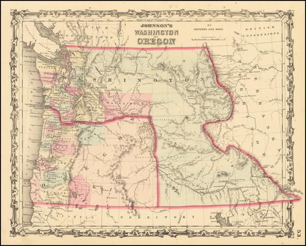 77-Idaho, Pacific Northwest, Oregon and Washington Map By Alvin Jewett Johnson  &  Benjamin P