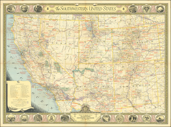 27-Southwest and Pictorial Maps Map By National Geographic Society