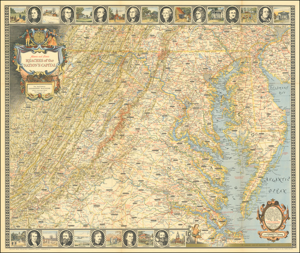 90-Maryland, Delaware, West Virginia and Virginia Map By National Geographic Society