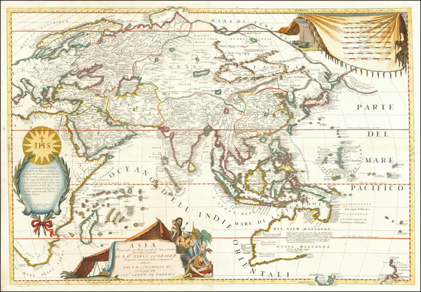 17-Asia and Australia Map By Vincenzo Maria Coronelli