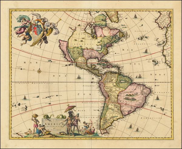 44-California as an Island and America Map By Nicolaes Visscher I