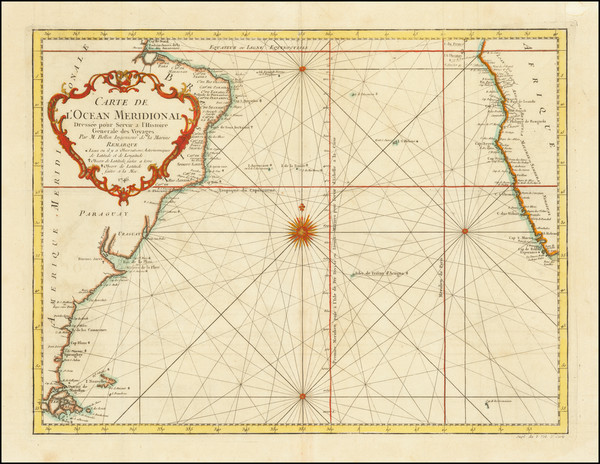 99-Atlantic Ocean and Brazil Map By Jacques Nicolas Bellin