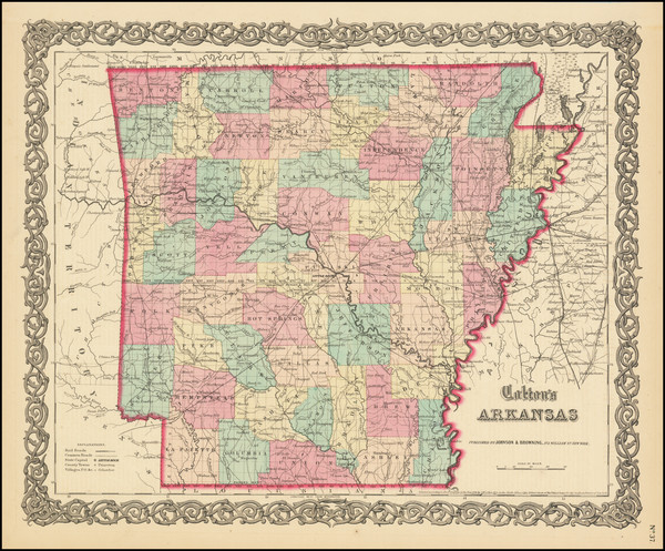 44-Arkansas Map By Joseph Hutchins Colton