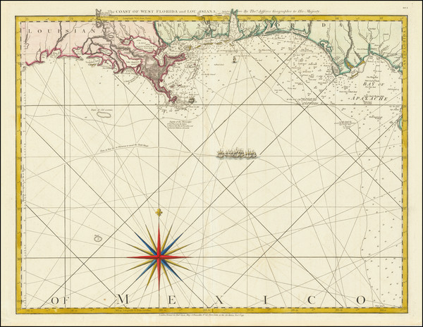 89-Florida, South, Louisiana, Alabama and Mississippi Map By Thomas Jefferys