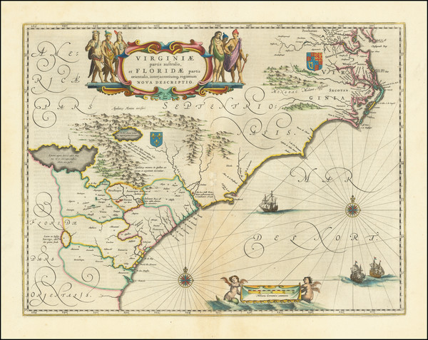 44-Southeast, Virginia, Georgia, North Carolina and South Carolina Map By Willem Janszoon Blaeu