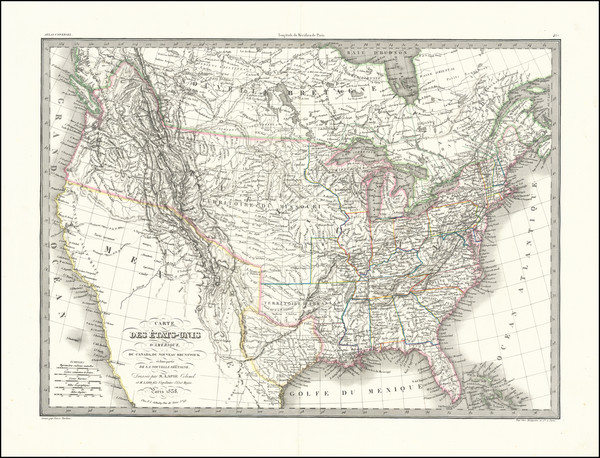 100-United States and Texas Map By Alexandre Emile Lapie