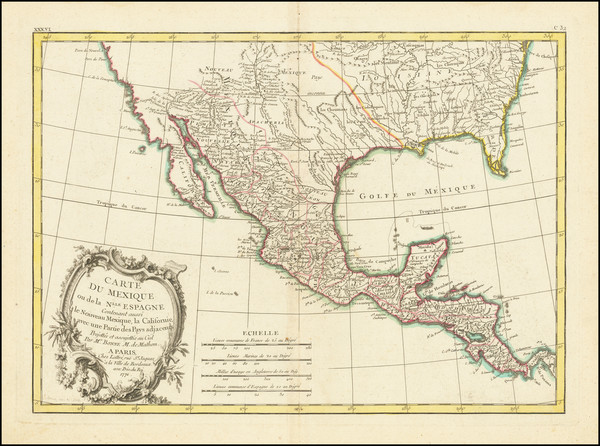 96-South, Texas, Southwest and Mexico Map By Jean Lattré