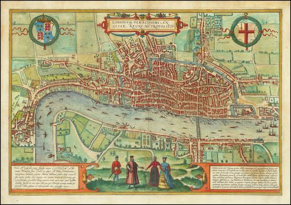 25-London Map By Georg Braun  &  Frans Hogenberg