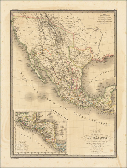 95-Texas, Southwest, Rocky Mountains and California Map By Alexandre Emile Lapie