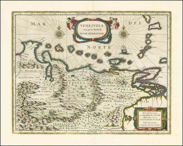 47-Venezuela Map By Willem Janszoon Blaeu