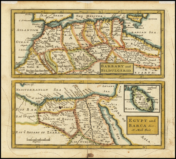 14-Malta, Egypt and North Africa Map By Herman Moll