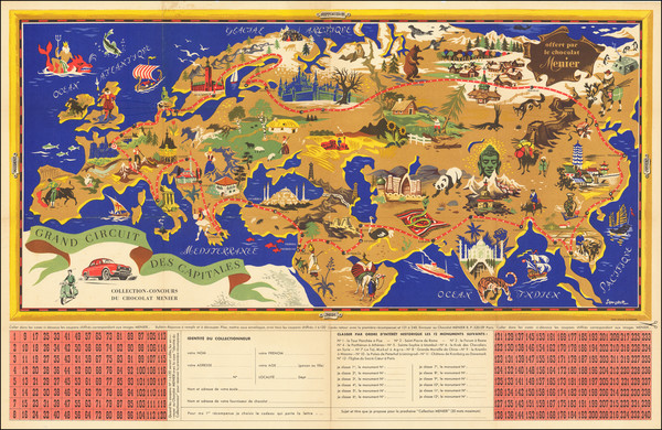 89-World, Europe, Mediterranean, Asia and Pictorial Maps Map By J.B. Jannot