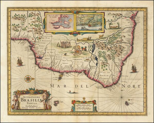 35-Brazil Map By Henricus Hondius