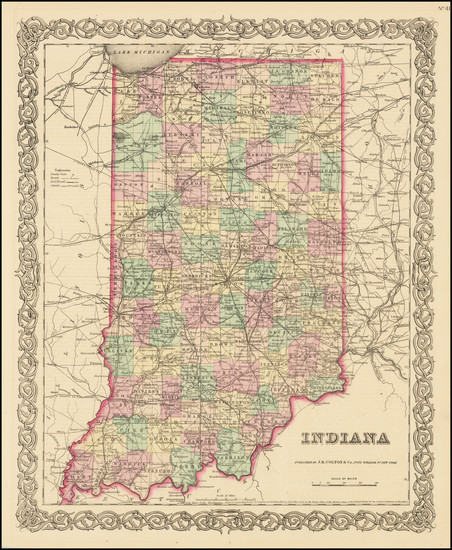 67-Indiana Map By Joseph Hutchins Colton