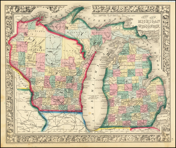 68-Michigan and Wisconsin Map By Samuel Augustus Mitchell