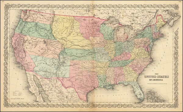 58-United States Map By Joseph Hutchins Colton