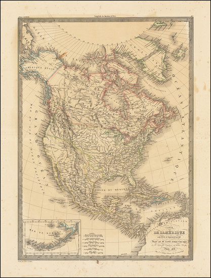 76-North America Map By Alexandre Emile Lapie
