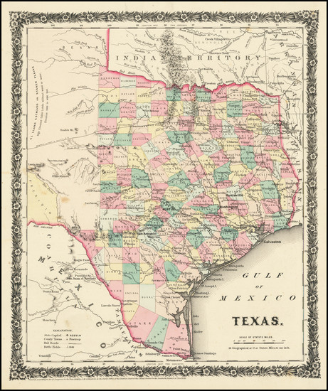 82-Texas Map By Joseph Hutchins Colton