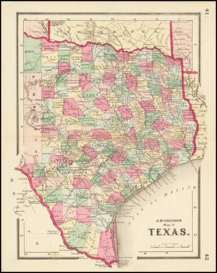 57-Texas Map By Joseph Hutchins Colton