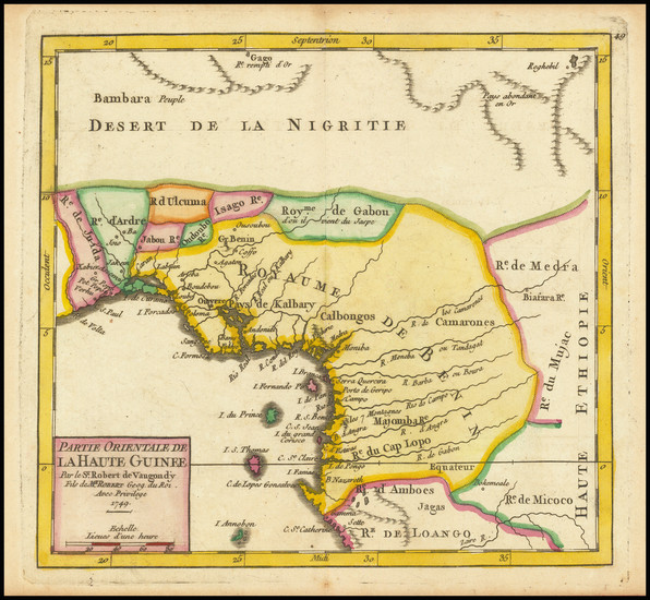 85-West Africa Map By Gilles Robert de Vaugondy