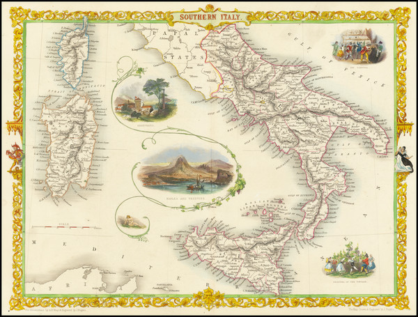 87-Southern Italy Map By John Tallis