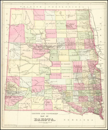 37-North Dakota and South Dakota Map By Samuel Augustus Mitchell Jr.