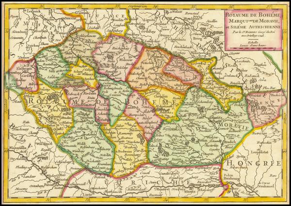 78-Czech Republic & Slovakia Map By Gilles Robert de Vaugondy