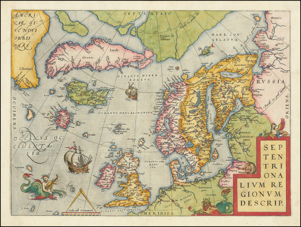 80-Atlantic Ocean, British Isles, Scandinavia and Balearic Islands Map By Abraham Ortelius